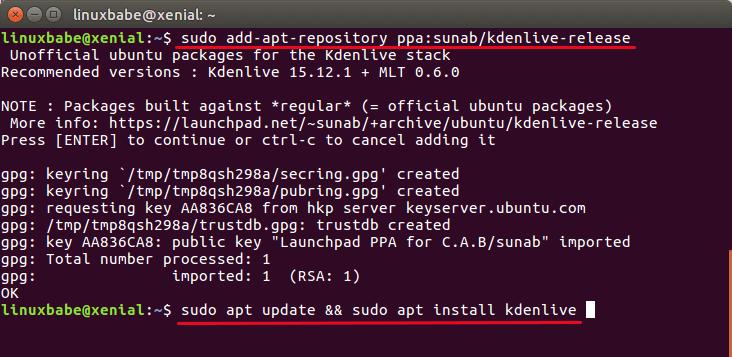 kdenlive ppa ubuntu 16.04