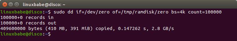 linux ramdisk speed test