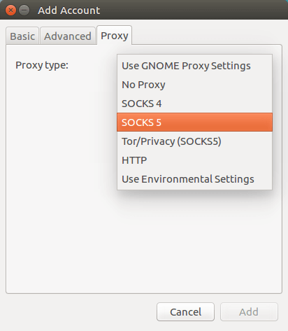 pidgin proxy settings
