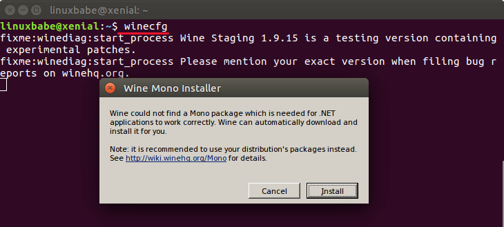 wine devel winecfg install mono