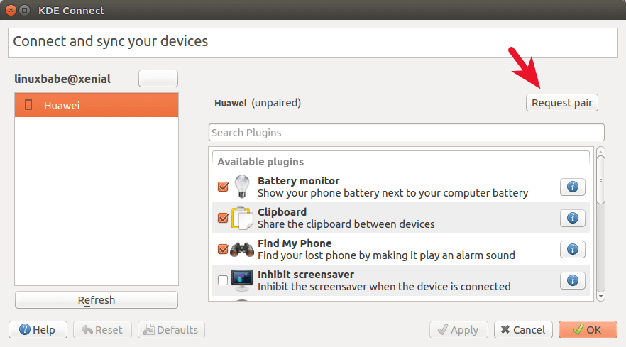 kde connect pair device