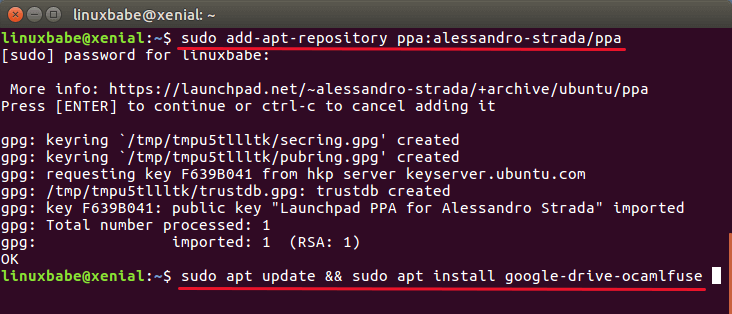 Install Google Drive Ocamlfuse on Ubuntu
