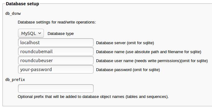 roundcube webmail mariadb setup