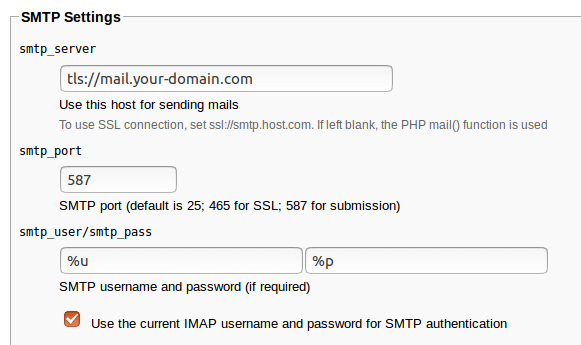 Roundcube Webmail SMTP settings