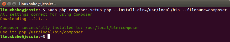 install composer on debina 8 jessie and ubuntu 14.04 trusty