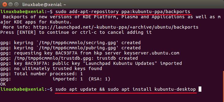 install kde plasma 5.7 on ubuntu 16.04 ppa