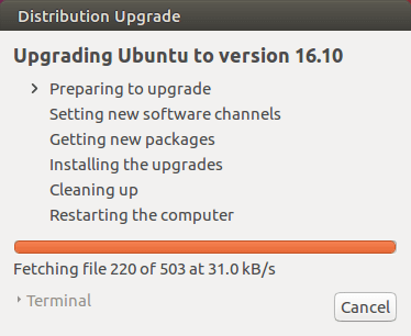upgrade ubuntu to version 16.10