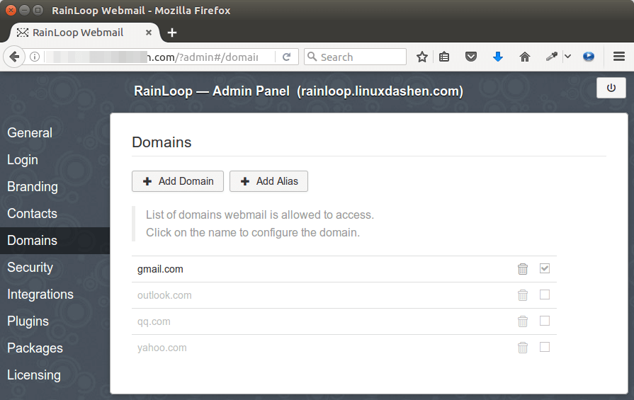 rainloop webmail multiple email domains