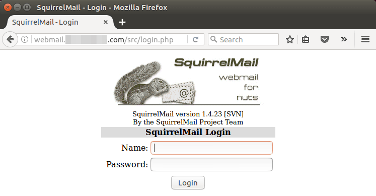 squirrelmail login page ubuntu 16.04