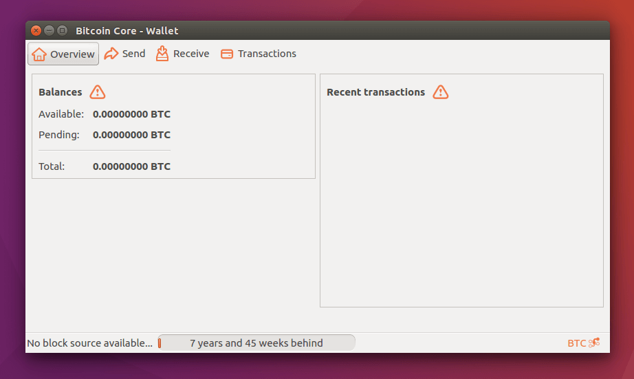 Bitcoin Core Wallet User Interface