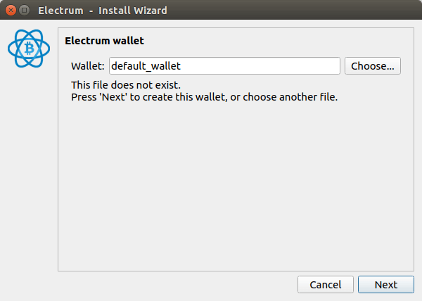 create default wallet in Electrum