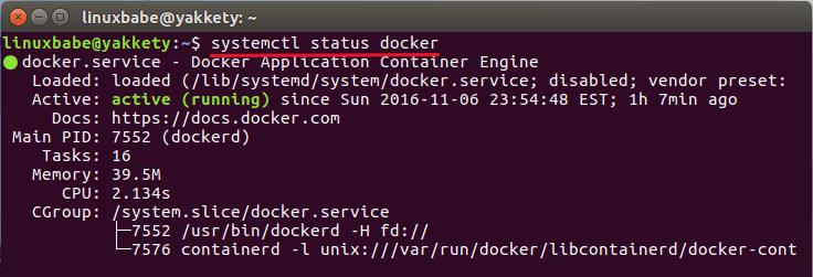 docker daemon status ubuntu 16.10