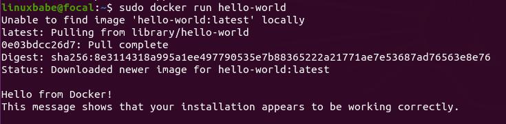 sudo docker run hello-world