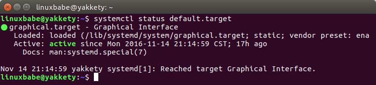 systemd default boot target