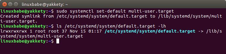 systemd default target