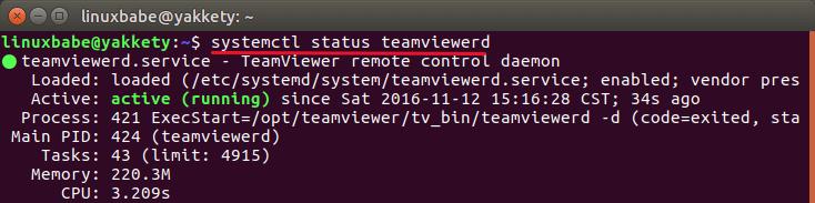 teamviewer remote contorl daemon ubuntu 16.10