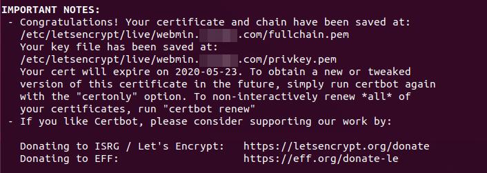 webmin ssl certificate