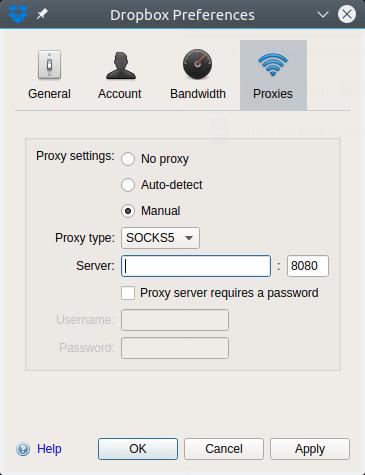 dropbox proxy settings