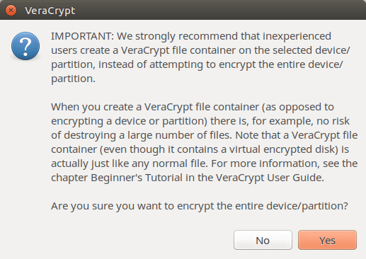 VeraCrypt encrypt the entire device partition