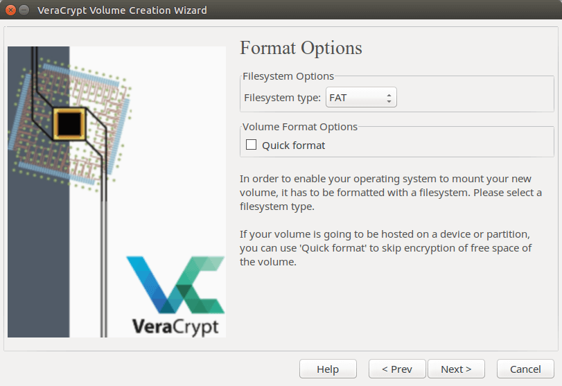 VeraCrypt filesystem type
