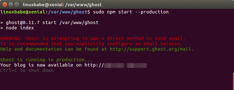install ghost blog ubuntu 16.04