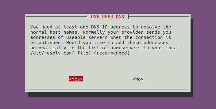 pppoe use peer DNS