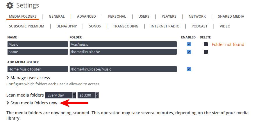 subsonic add media folder