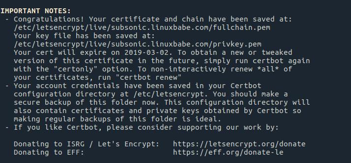 subsonic ubuntu 16.04 https letsencrypt