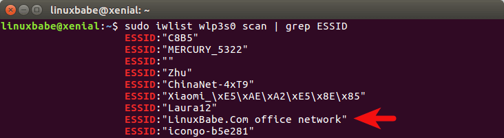 ubuntu 16.04 connect to wifi command line