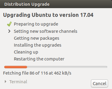 ubuntu 16.10 to 17.04