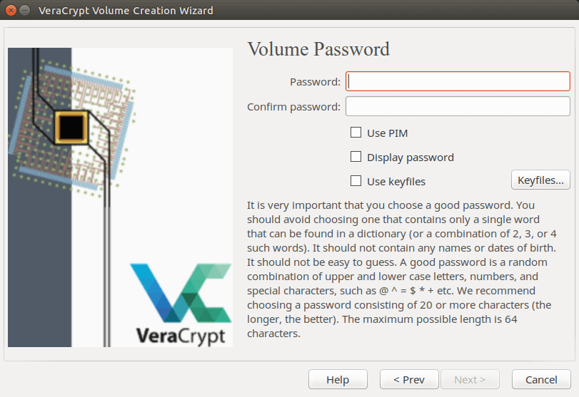 veracrypt password length