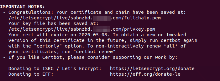 sabnzbd ssl certificate