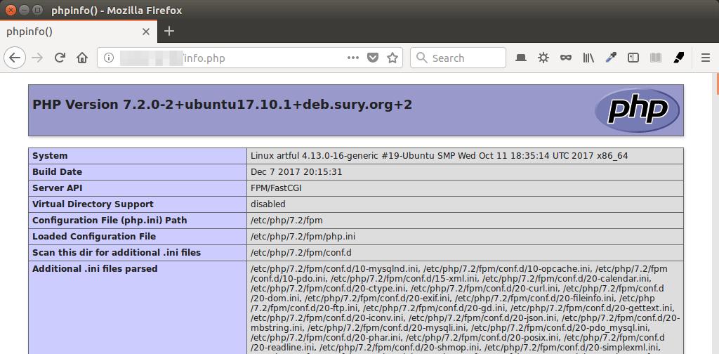 Ubuntu 17.10 php7.2