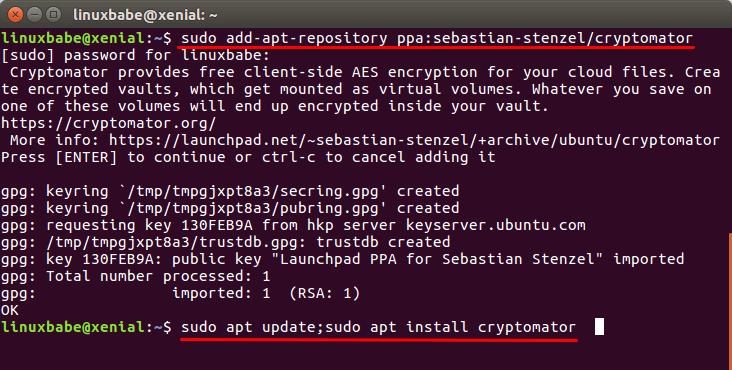 cryptomator ubuntu 16.04