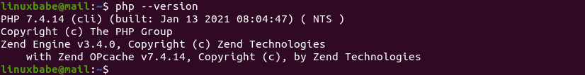 php --version ubuntu