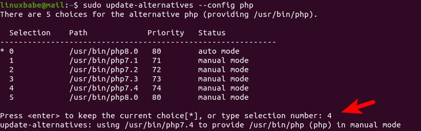 set the default command line PHP version ubuntu