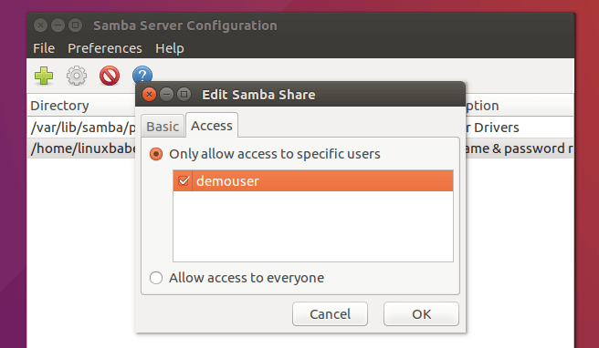 samba private share with security = user
