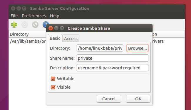 ubuntu 16.04 samba private share