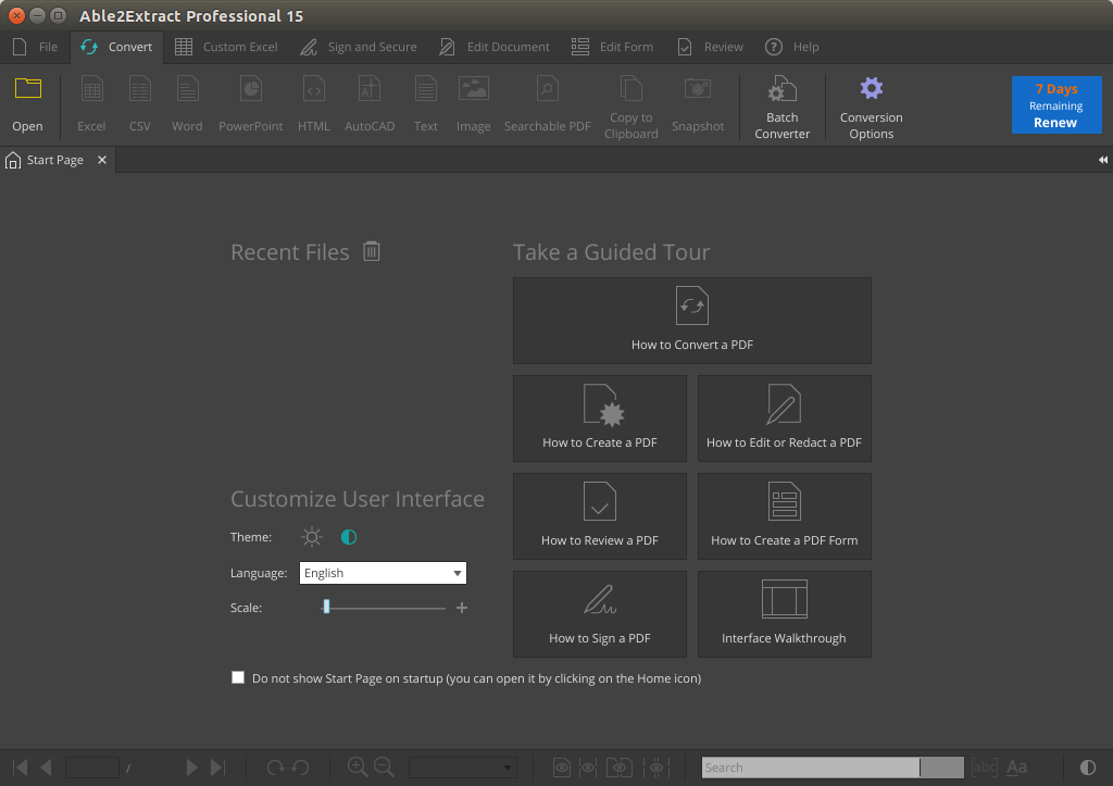 able2extract start page