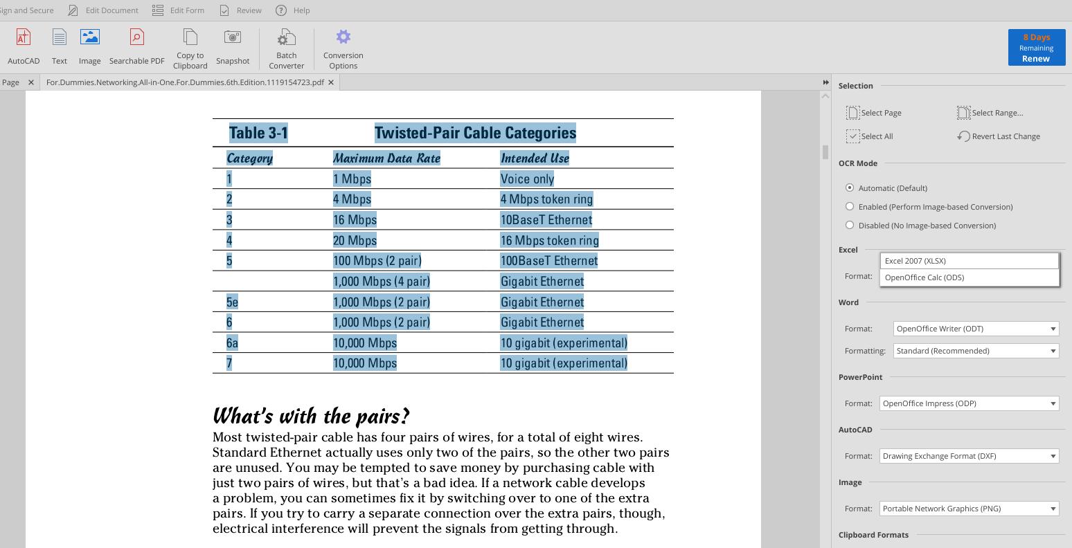 convert PDF table to spreadsheet
