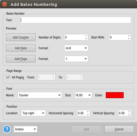 pdf bates numbering