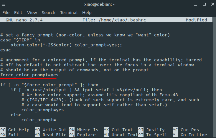 debian 9 terminal prompt color