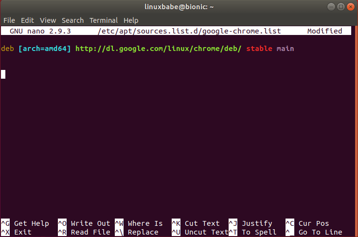 install google chrome browser ubuntu 18.04 from command line