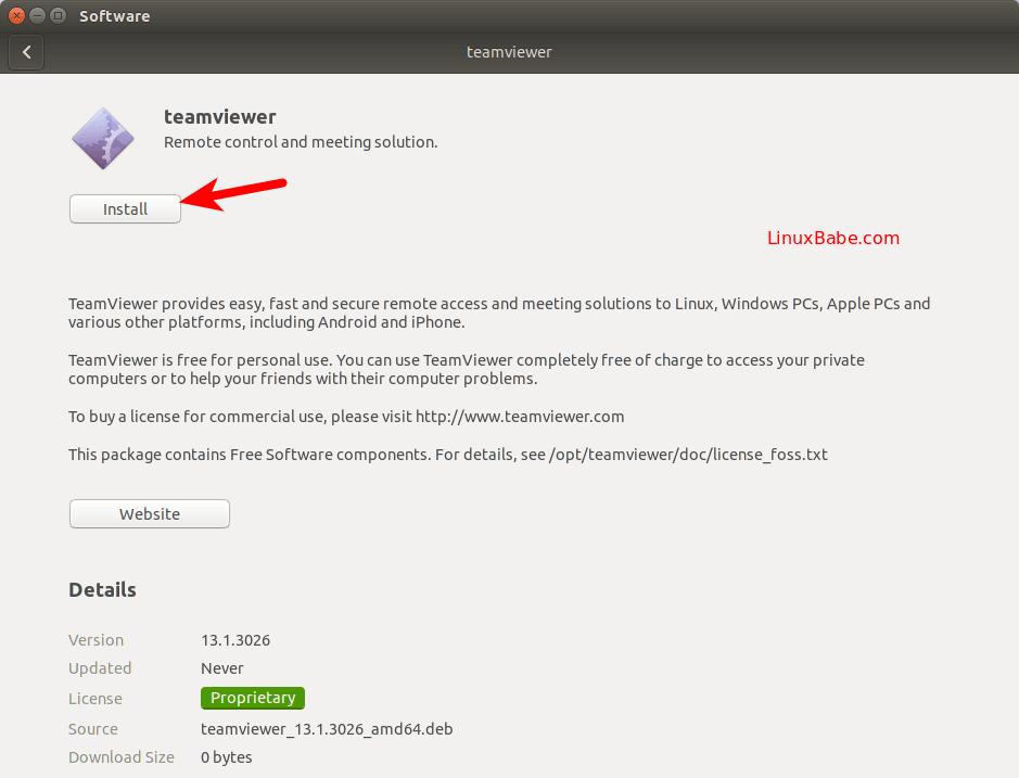 teamviewer ubuntu install