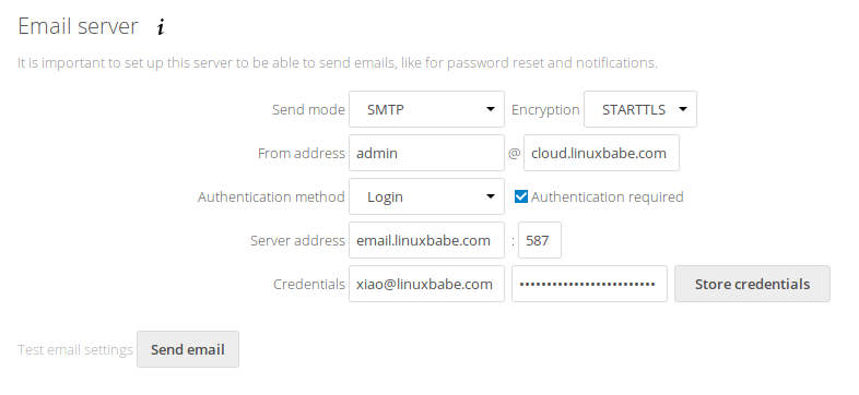 nextcloud reset password email