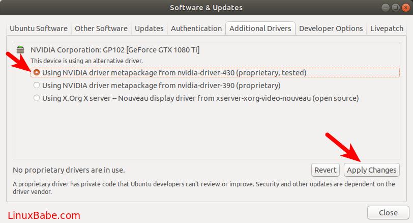 install nvidia driver ubuntu 18.04 LTS
