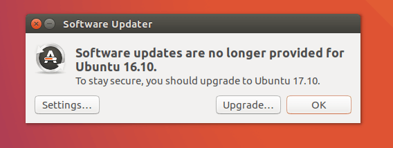 upgrade ubuntu 16.10 to 18