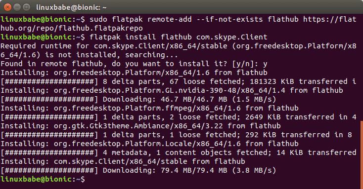 flatpak install skype