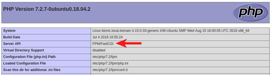 ubuntu 18.04 lamp php-fpm