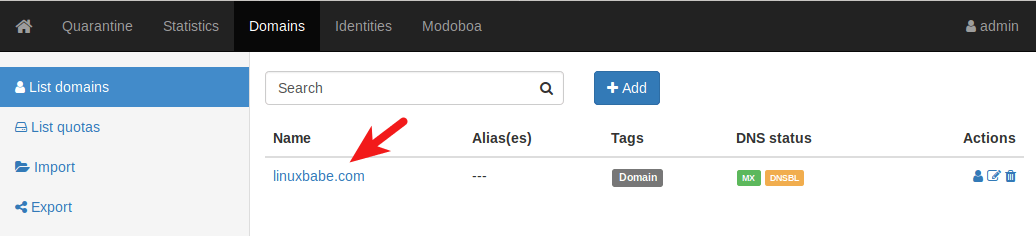 add mailboxes in modoboa